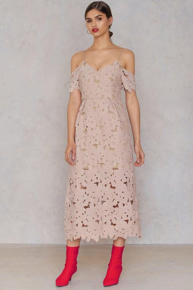 Cold Shoulder Crochet Midi Dress Pink