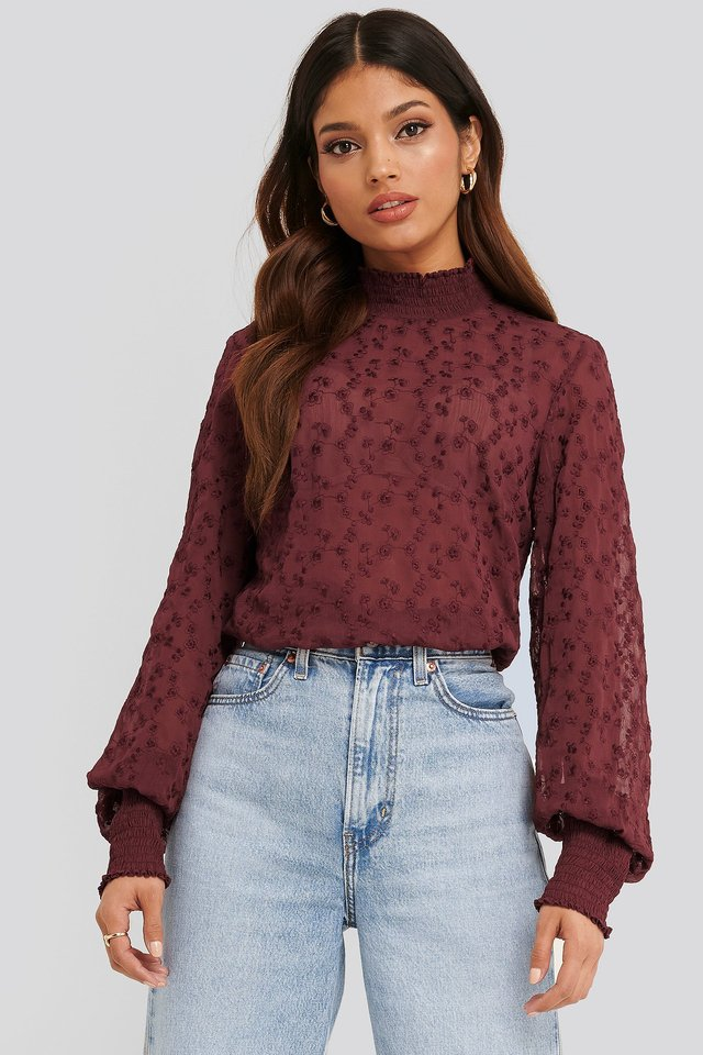 Embroidery Smock Blouse Burgundy