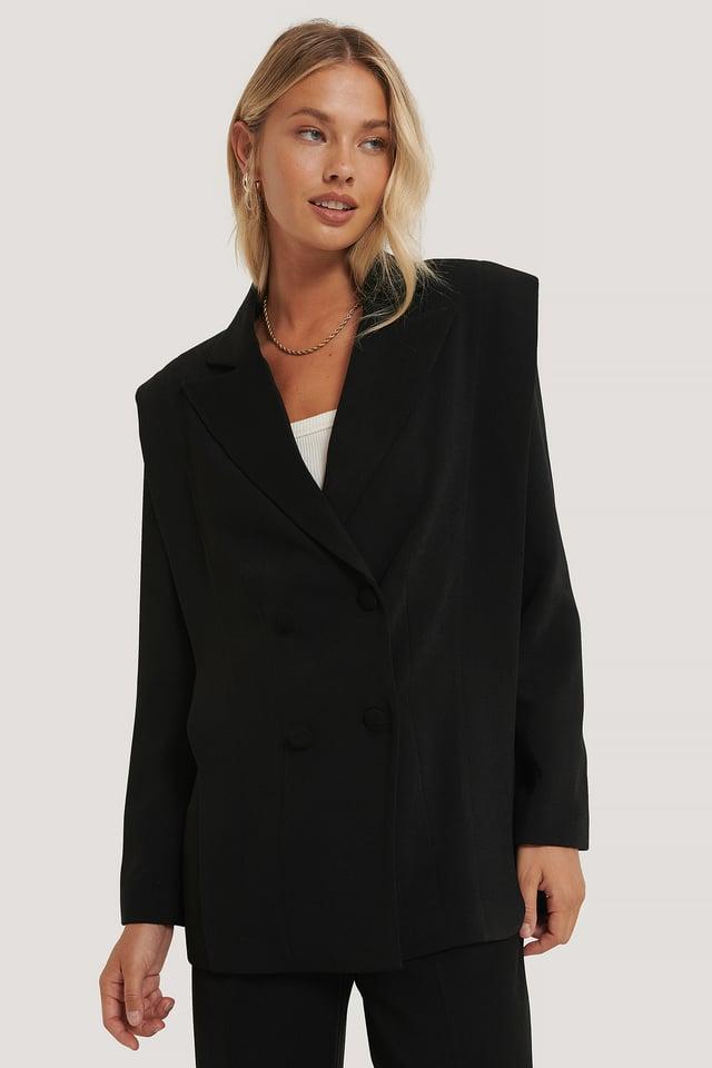 Black Bolded Shoulder Blazer