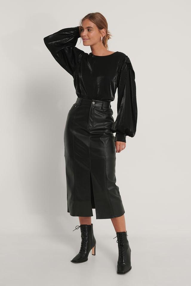 Bolded Shoulder Shiny Blouse Black