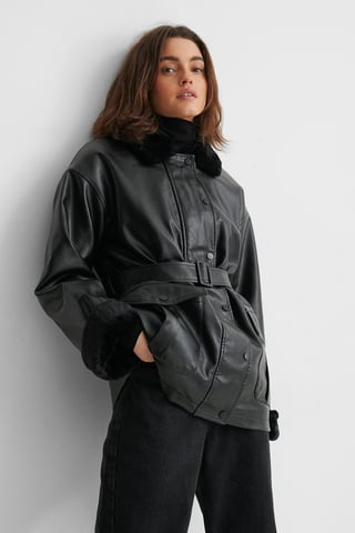 Black Faux Fur Bonded PU Jacket