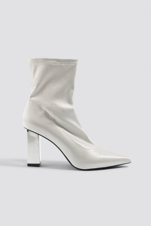 Metallic Block Heel Sock Boots Eggshell