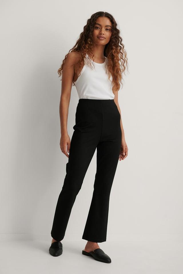 Black Bootcut Jersey Pants