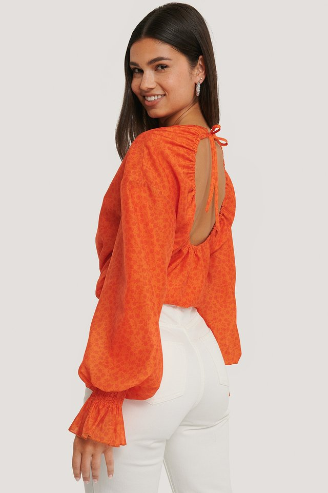 Orange Bluse Mit Kordelzug