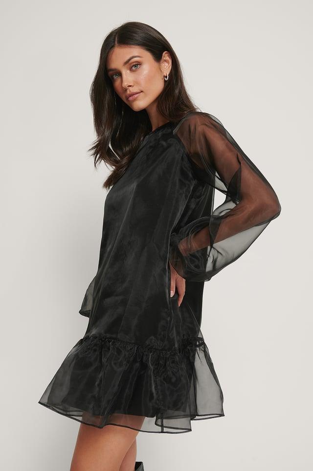 Bottom Flounce Organza Dress Black