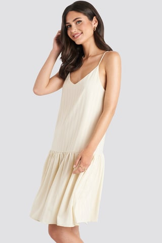 Cream Bottom Flounce Striped Dress