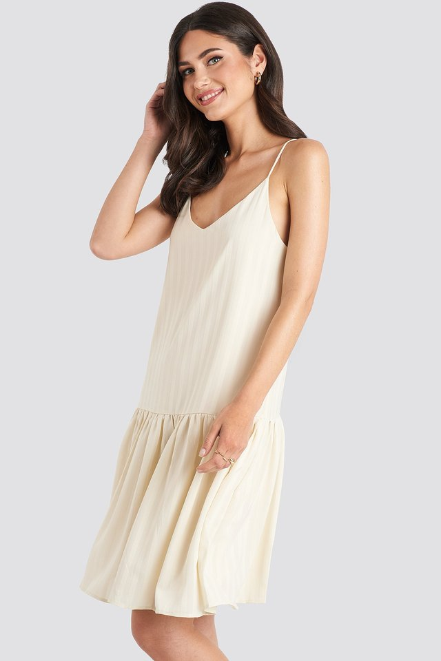 Bottom Flounce Striped Dress Cream