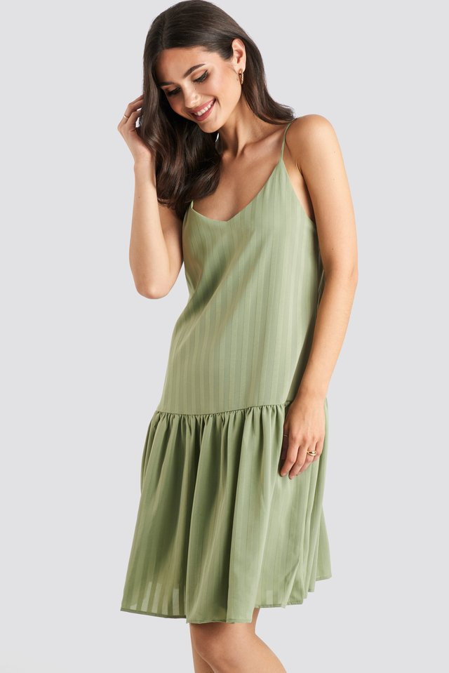 Bottom Flounce Striped Dress Khaki