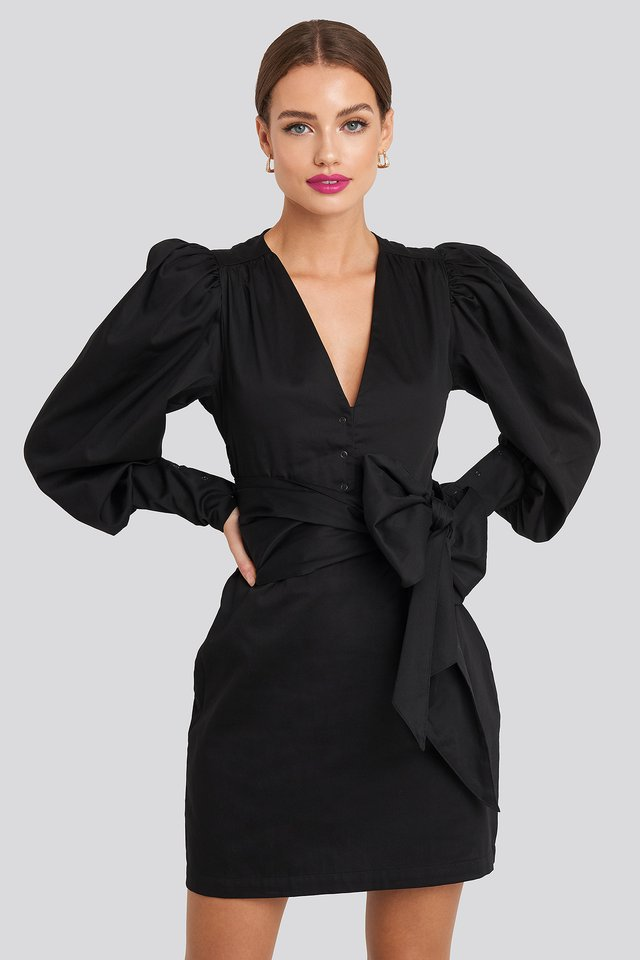 Bow Detail Long Sleeve Mini Dress Black