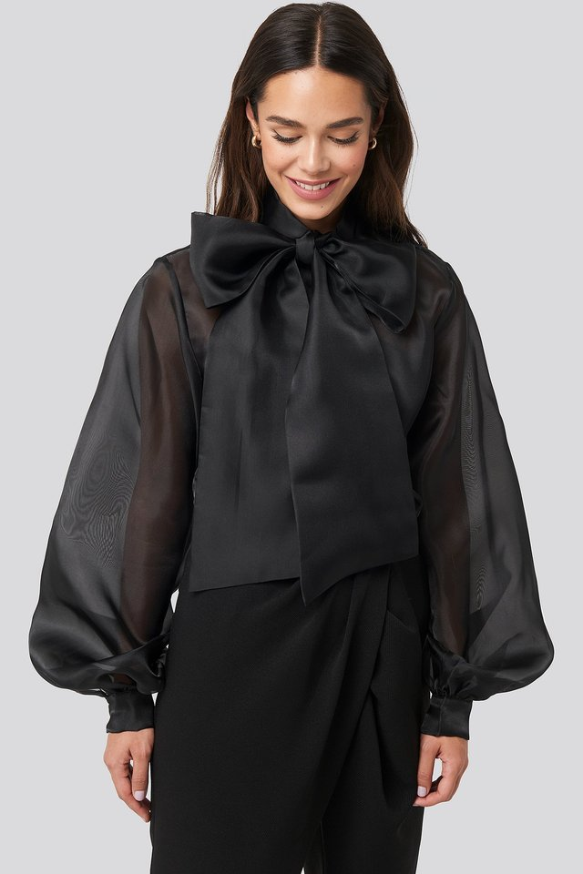 Bow Neck Organza Blouse Black