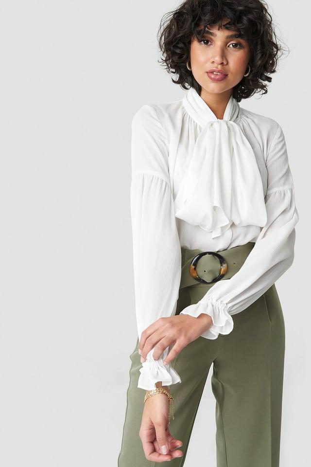 White Bow Tie Blouse