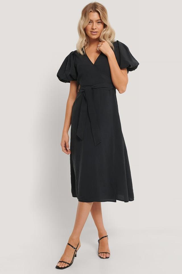 Vestido Cruzado Con Lazo Black
