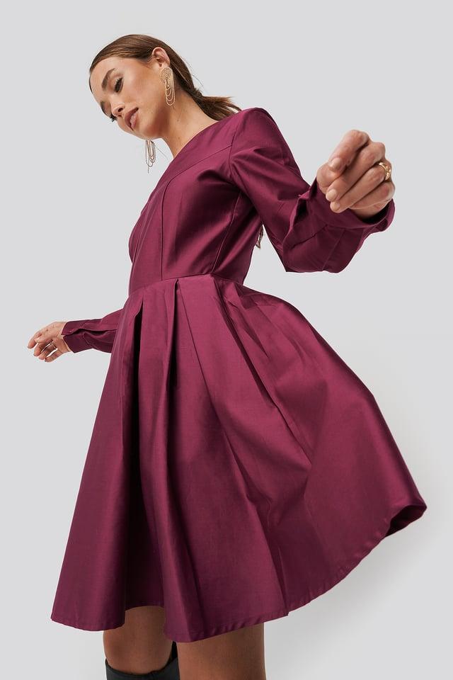 Box Pleat Mini Dress Bright Rose