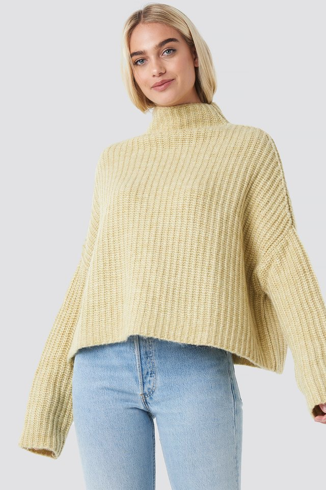 Boxy High Neck Knitted Sweater Light Yellow
