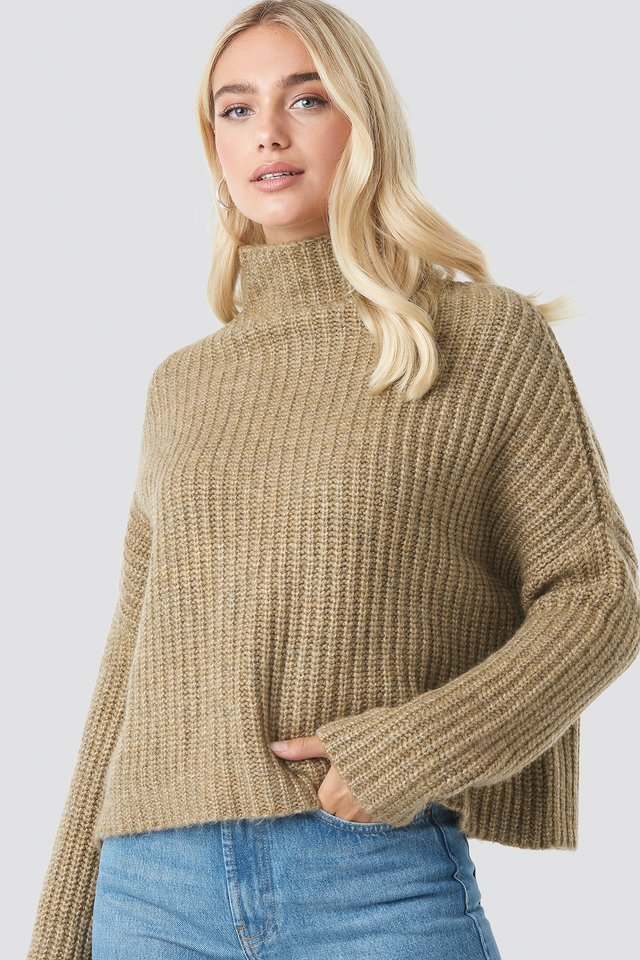 Boxy High Neck Knitted Sweater Light Beige