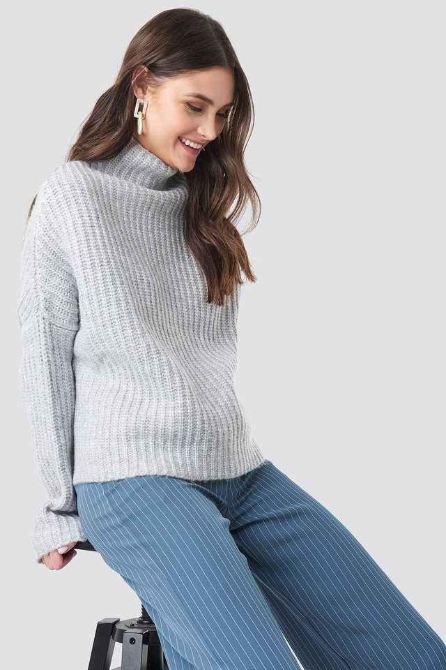 Boxy High Neck Knitted Sweater Light Grey