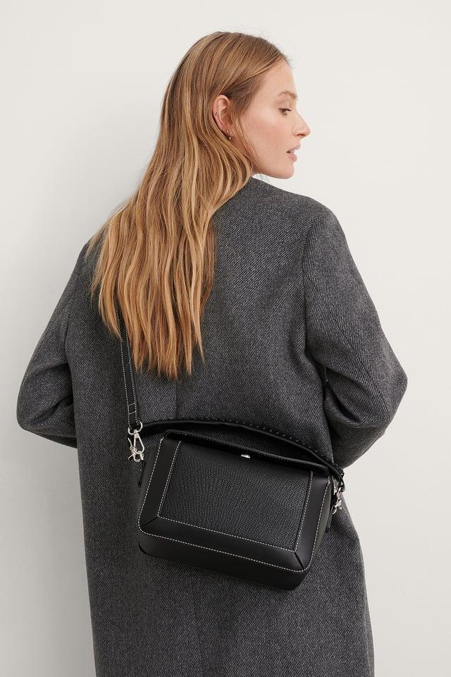 Black Boxy Stitch Detail Bag