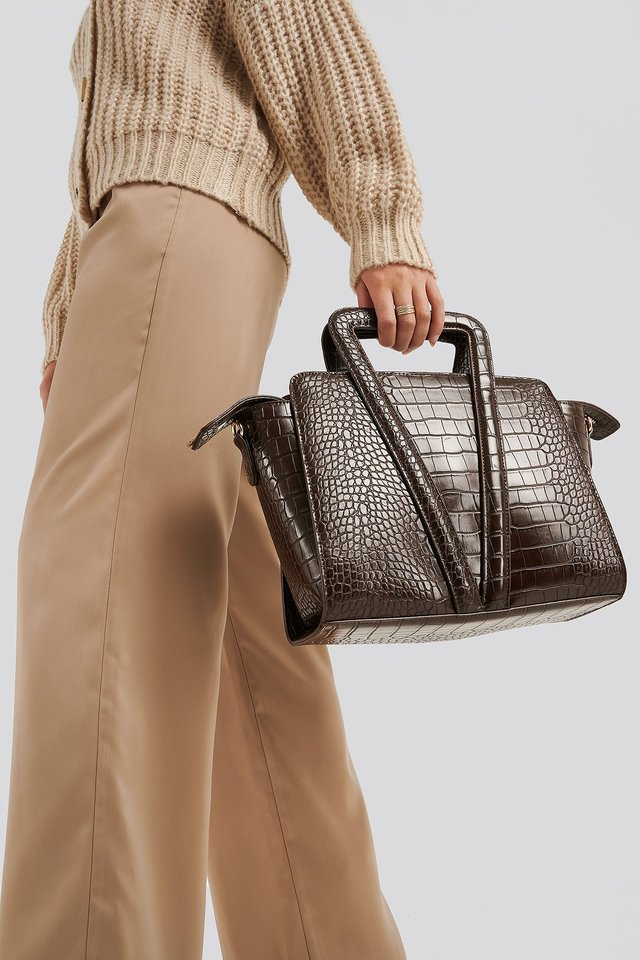 Boxy Trapeze Bag Dark Brown