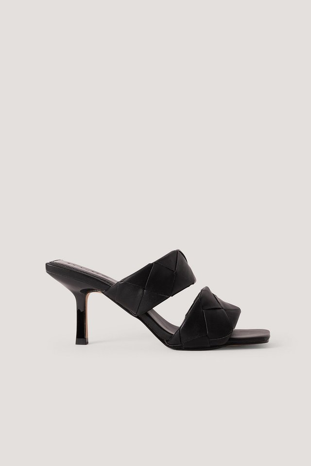 Braided Double Strap Mule Black