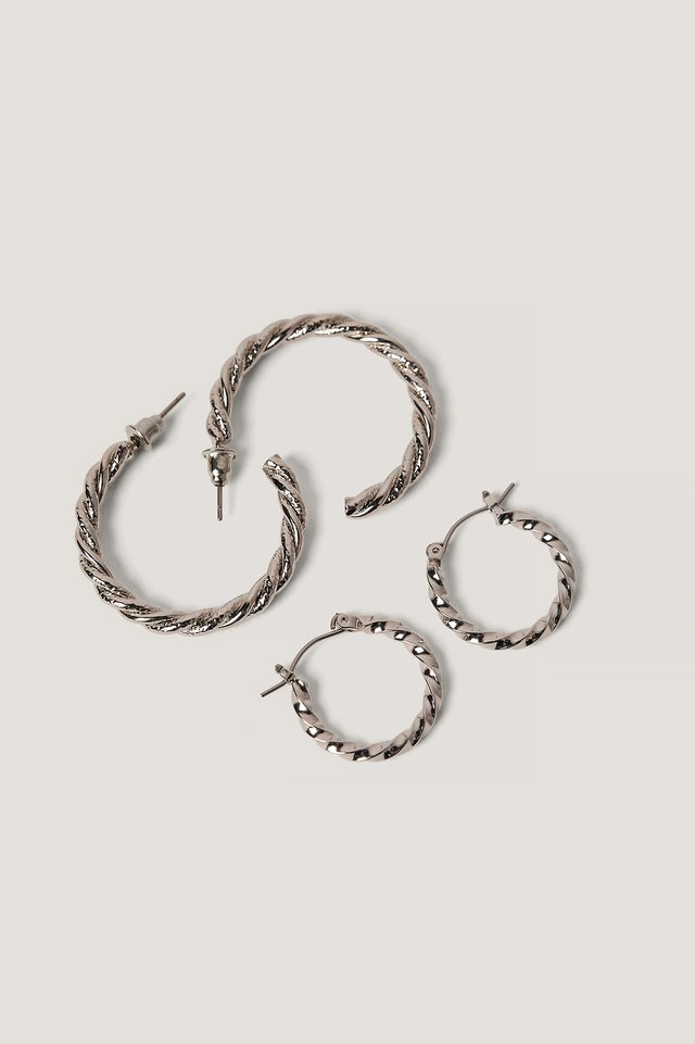 Braided Earrings Set Silver