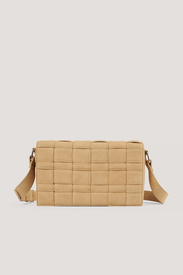 Beige Braided Faux Suede Bag