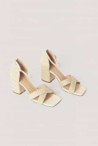 Natural Braided Raffia Heels