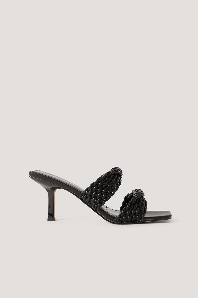 Braided Twisted Strap Sandals Black