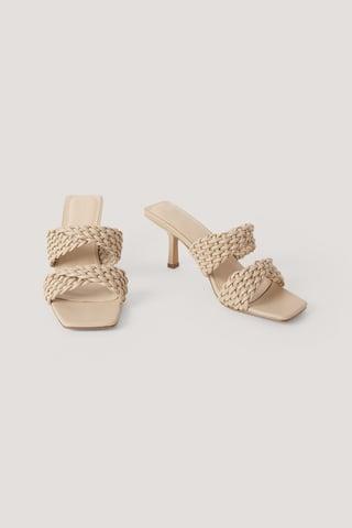 Greige Braided Twisted Strap Sandals