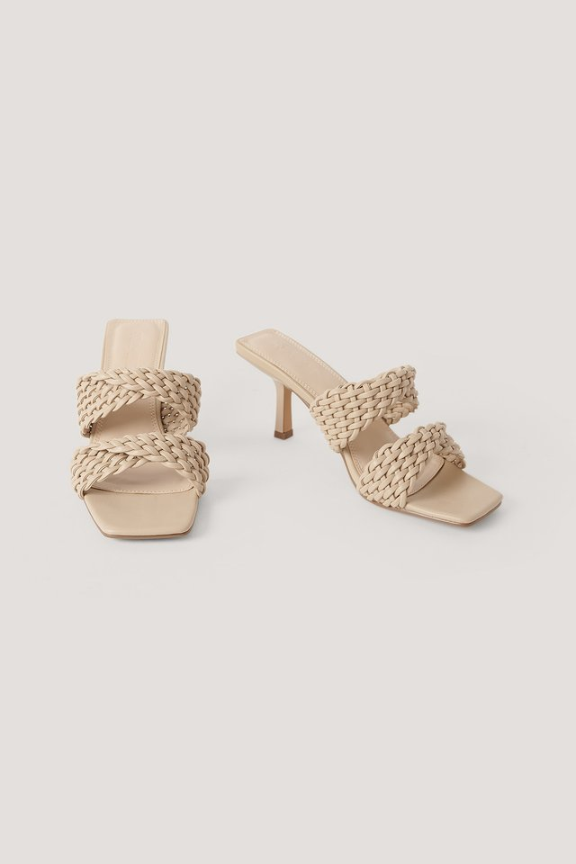Braided Twisted Strap Sandals Greige