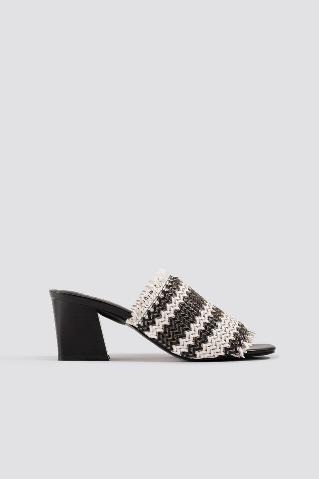 Braided Upper Mules Black/White