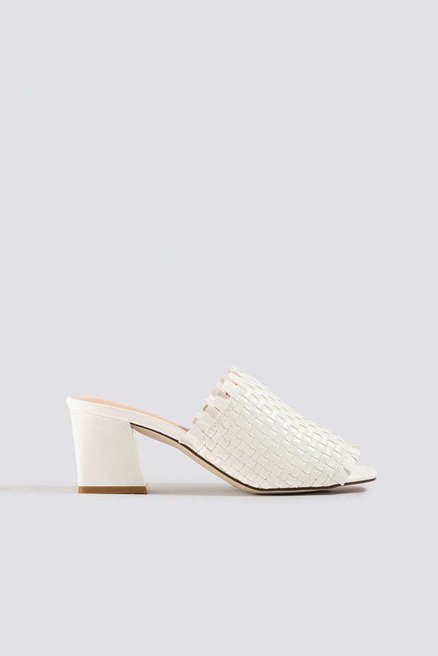 Braided Upper Mules White