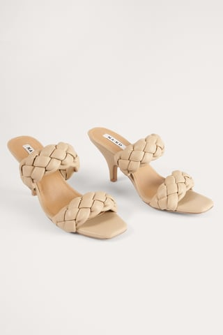 Beige Braided Wedge Mules