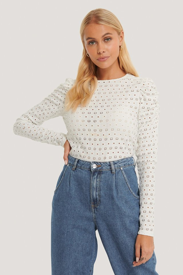 Broderie Anglaise Puff Sleeve Top White