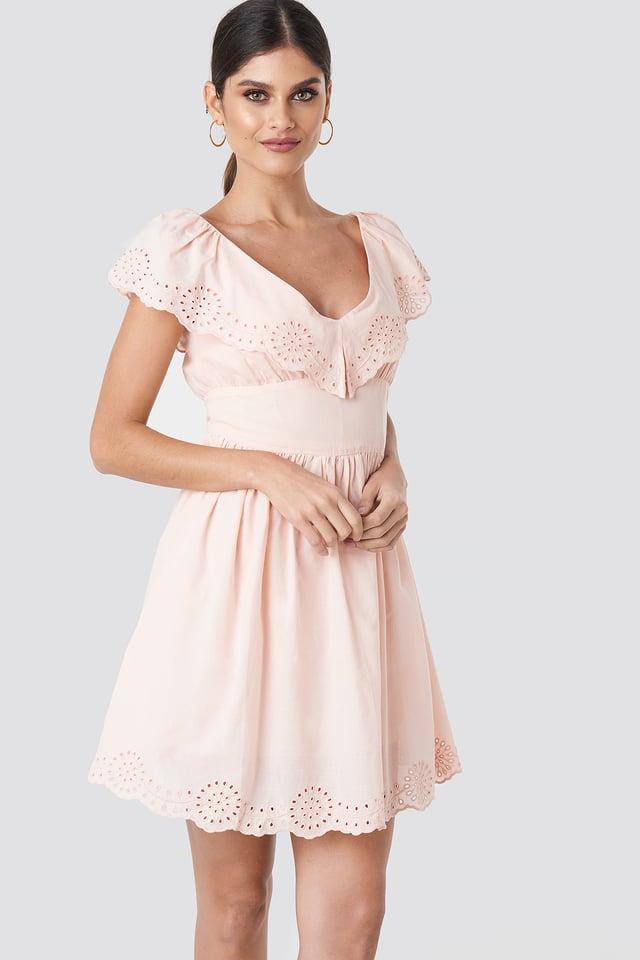 Broiderie Anglais Ruffle Dress Pink