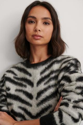 Grey/Black Brushed Zebra Knitted Sweater