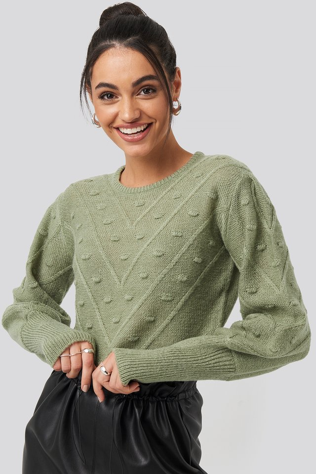 Bubble Detail Knitted Sweater Khaki