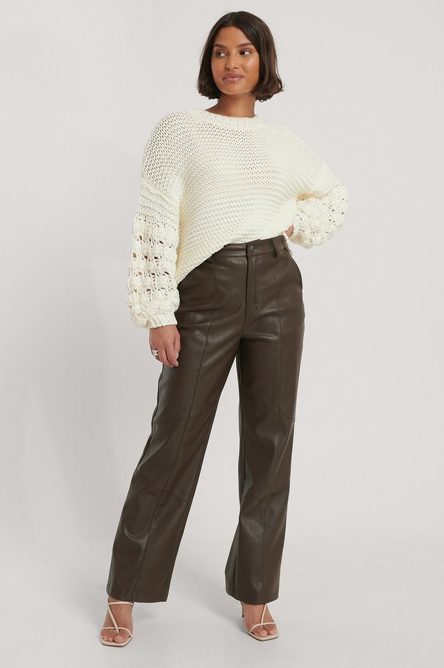 Offwhite Bubble Sleeve Knitted Sweater