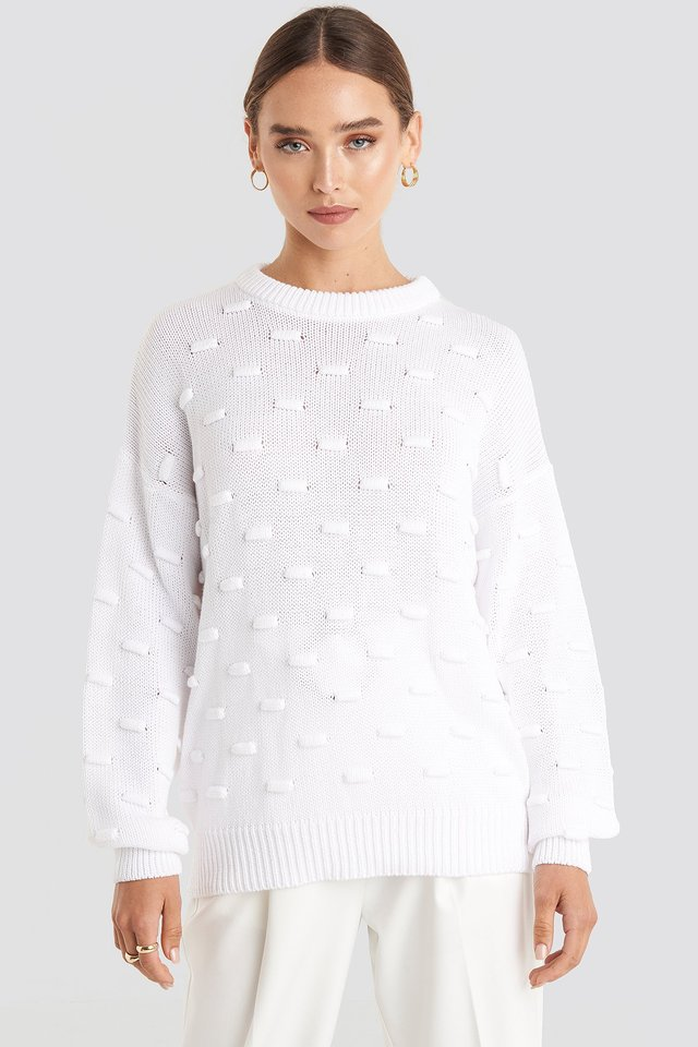 Bubble Stitch Balloon Sleeve Knitted Sweater White