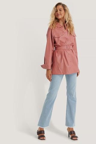 Dusty Pink Buckle Belt Chest Pocket PU Jacket