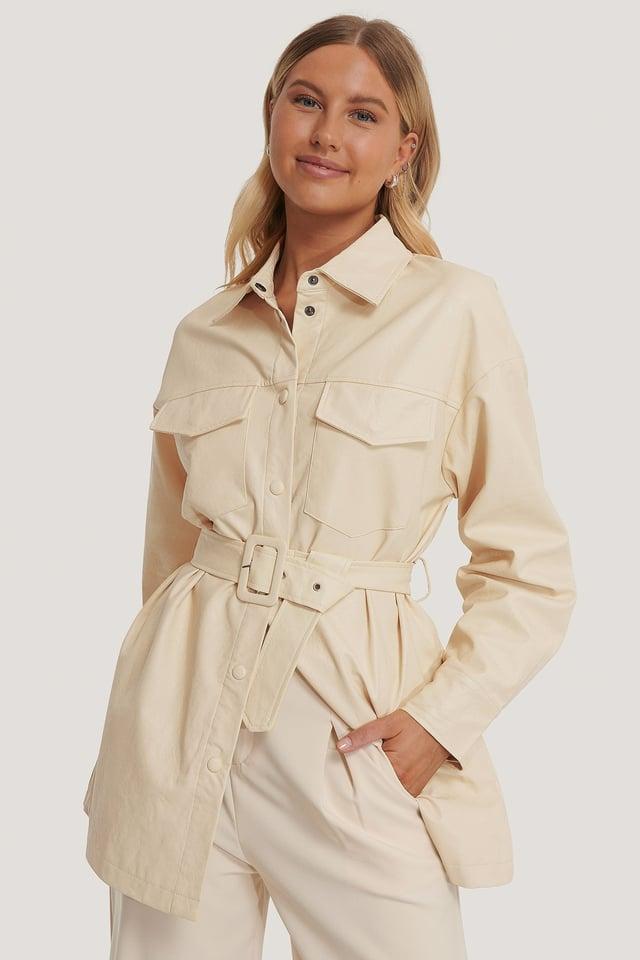 Offwhite Buckle Belt Chest Pocket PU Jacket