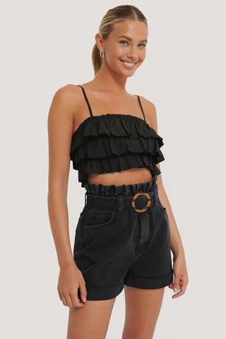 Black Buckle Belt Denim Shorts
