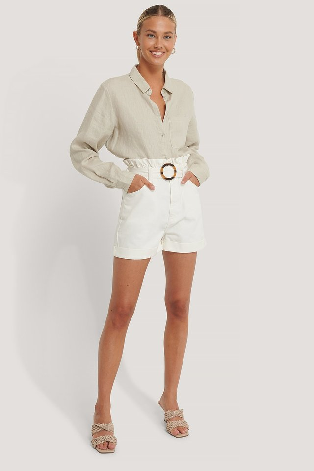 Buckle Belt Denim Shorts Offwhite