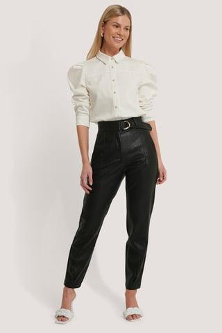 Black Buckle Belt Detailed Pu Pants