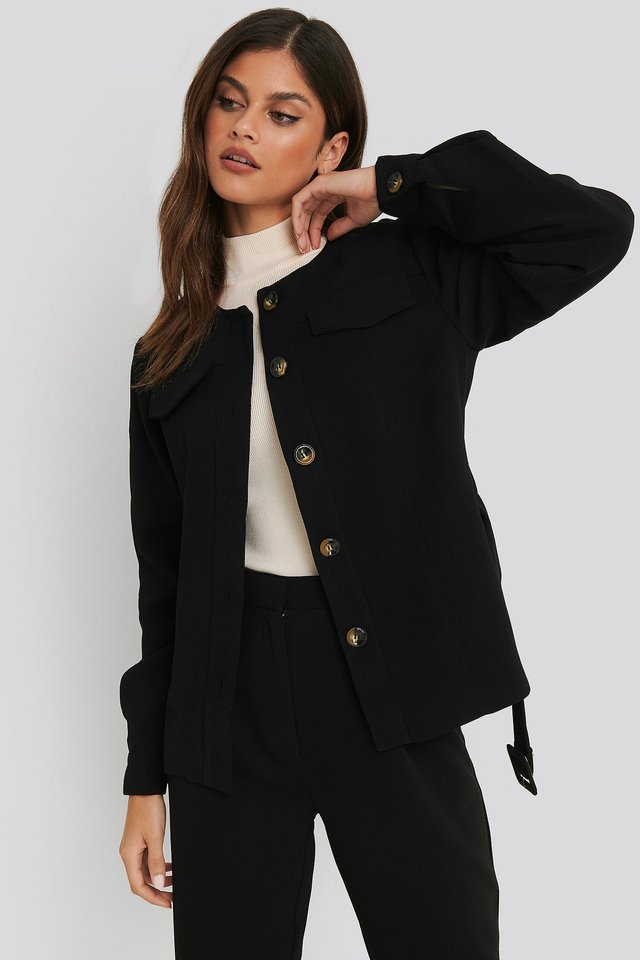 Buckle Belted Jacket Black