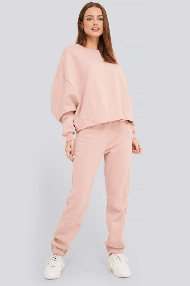 Buckle Elasticated Waist Joggers Pink