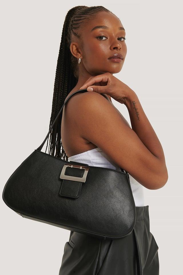 Black Buckle Shoulder Bag