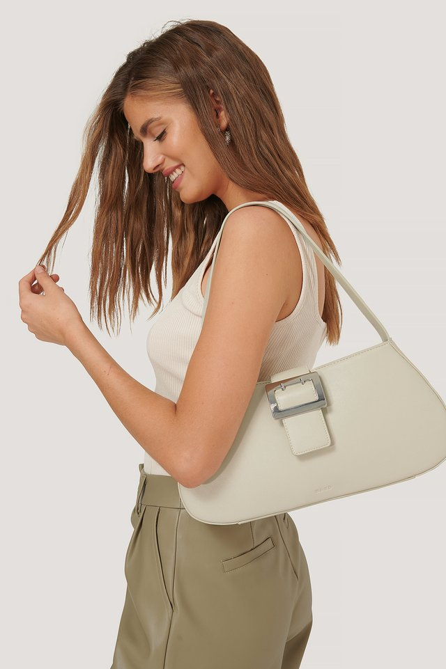 Cream Buckle Shoulder Bag