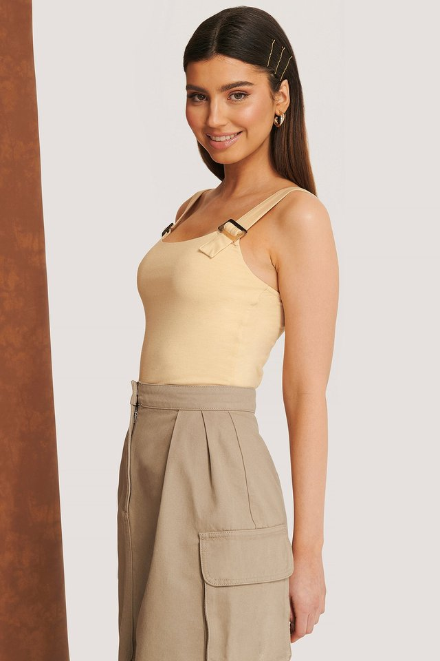 Buckle Strap Top Light Beige