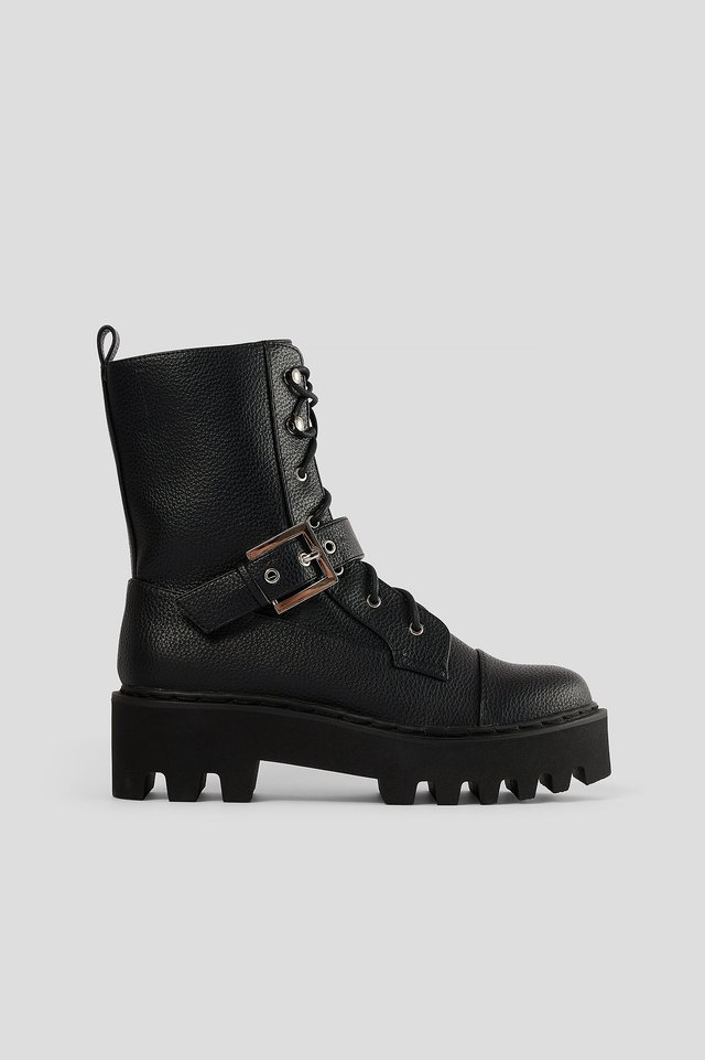 Black Buckled Combat Boots