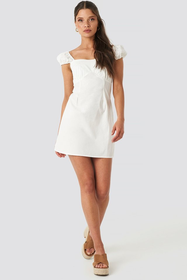 Bust Detail Mini Dress White